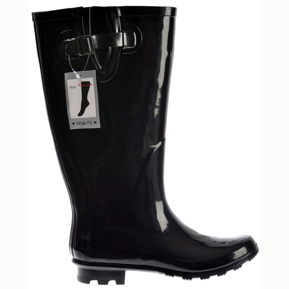 LADIES EXTRA WIDE CALF LEG BLACK PATENT WELLIES WELLINGTON ...