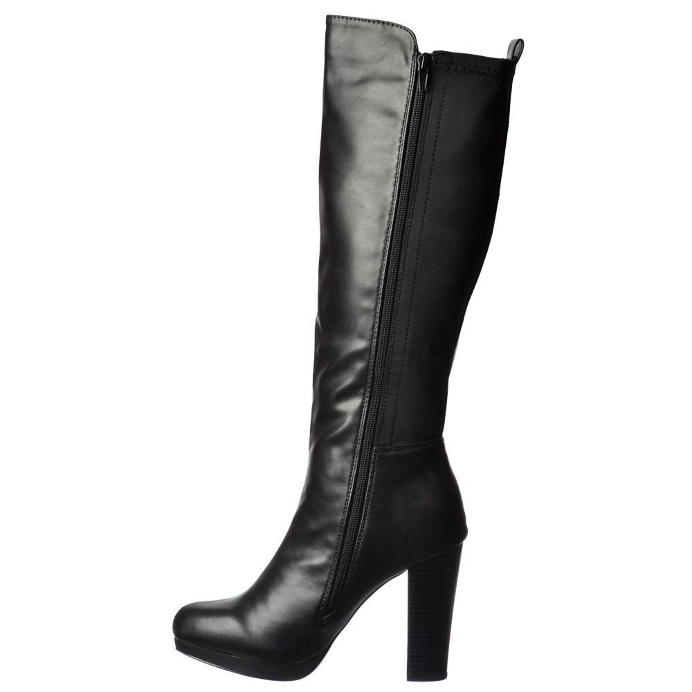 Elegant Sexy Womens Knee High Side Zipper Casual Boots Low Heels Shoes US Size