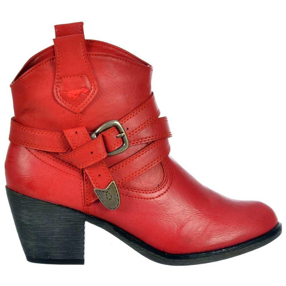 Womens Girls Rocket Dog Satire Cowboy Ankle Boots Cuban Heel Red