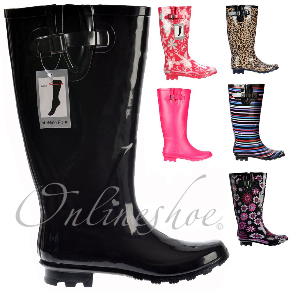 Womens Ladies Funky Festival Extra Wide Calf Wellies