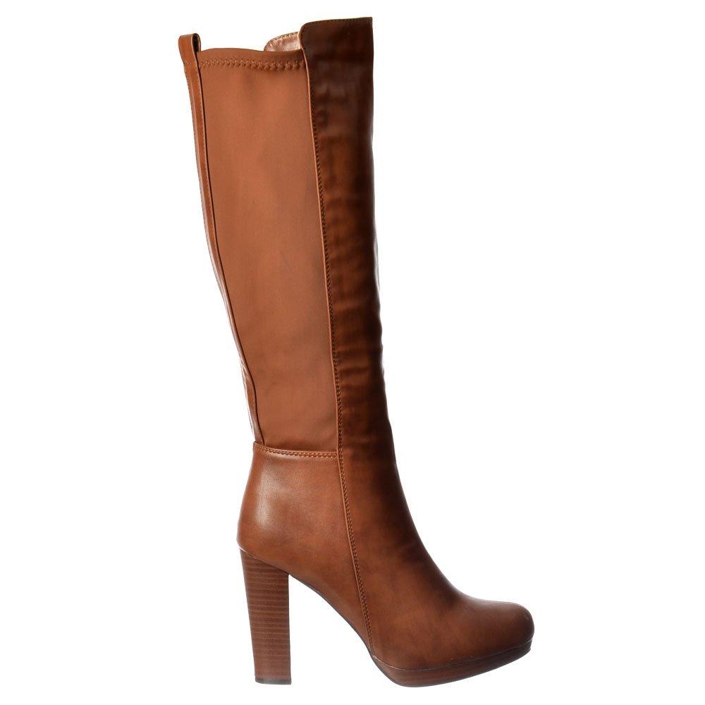 womens elasticated stretch work casual mid heel knee high
