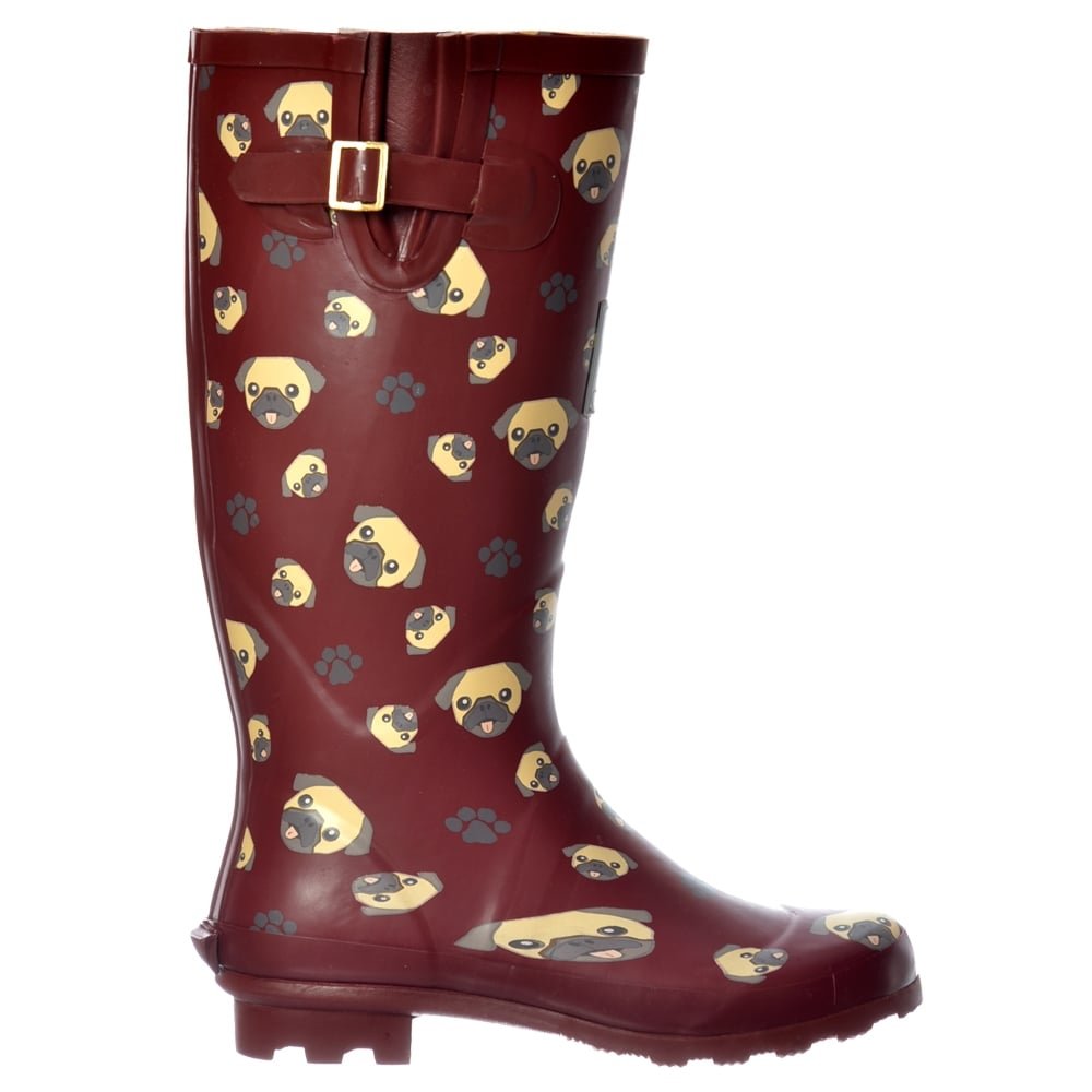 Womens Girls Funky Flat Wellie Wellington Festival Rain Boots Dogs ...