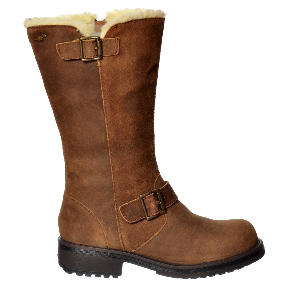 womens rocket knockout mid calf biker boot leather