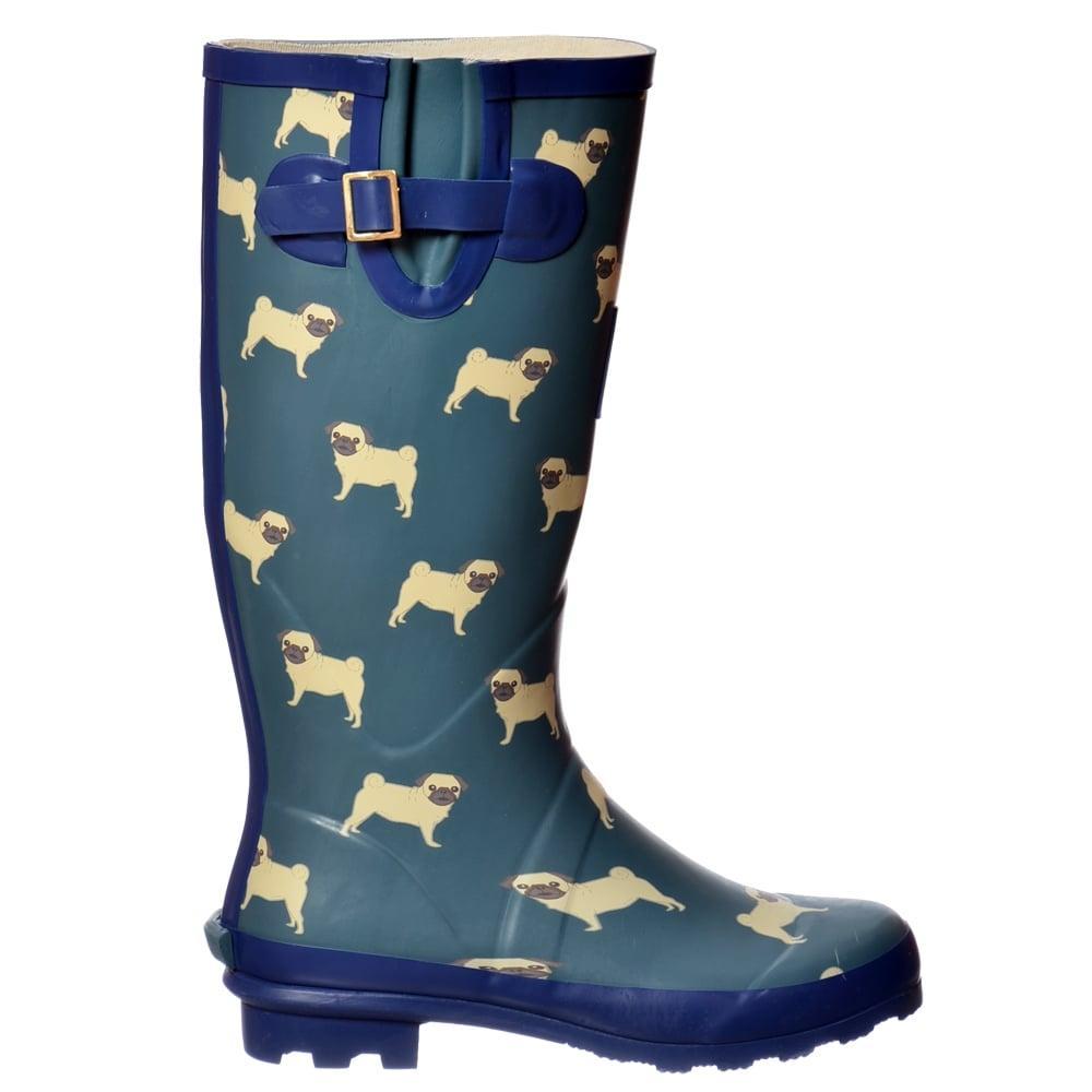 womens funky flat wellie wellington festival boots dogs pug westie ebay