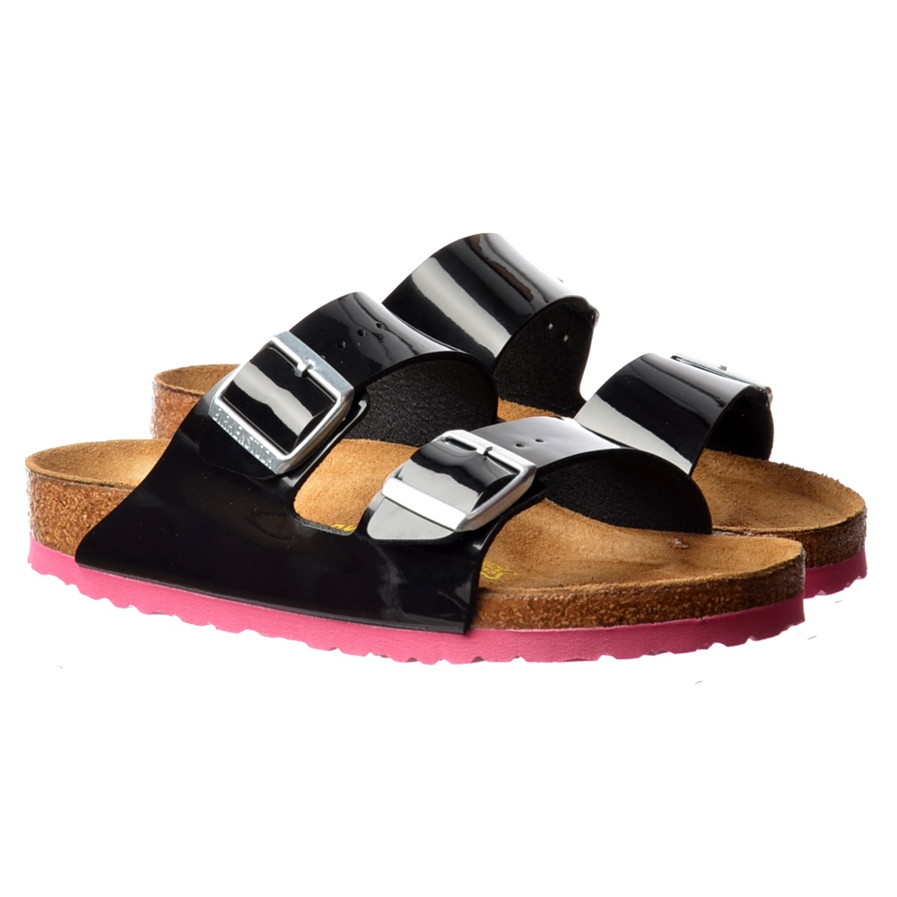 Birkenstock Arizona Birkoflor - Standard Fitting Classic Buckled Two Strap  - Flip Flop Sandal - Black Patent - WOMENS from Onlineshoe UK 9b7609c6d4