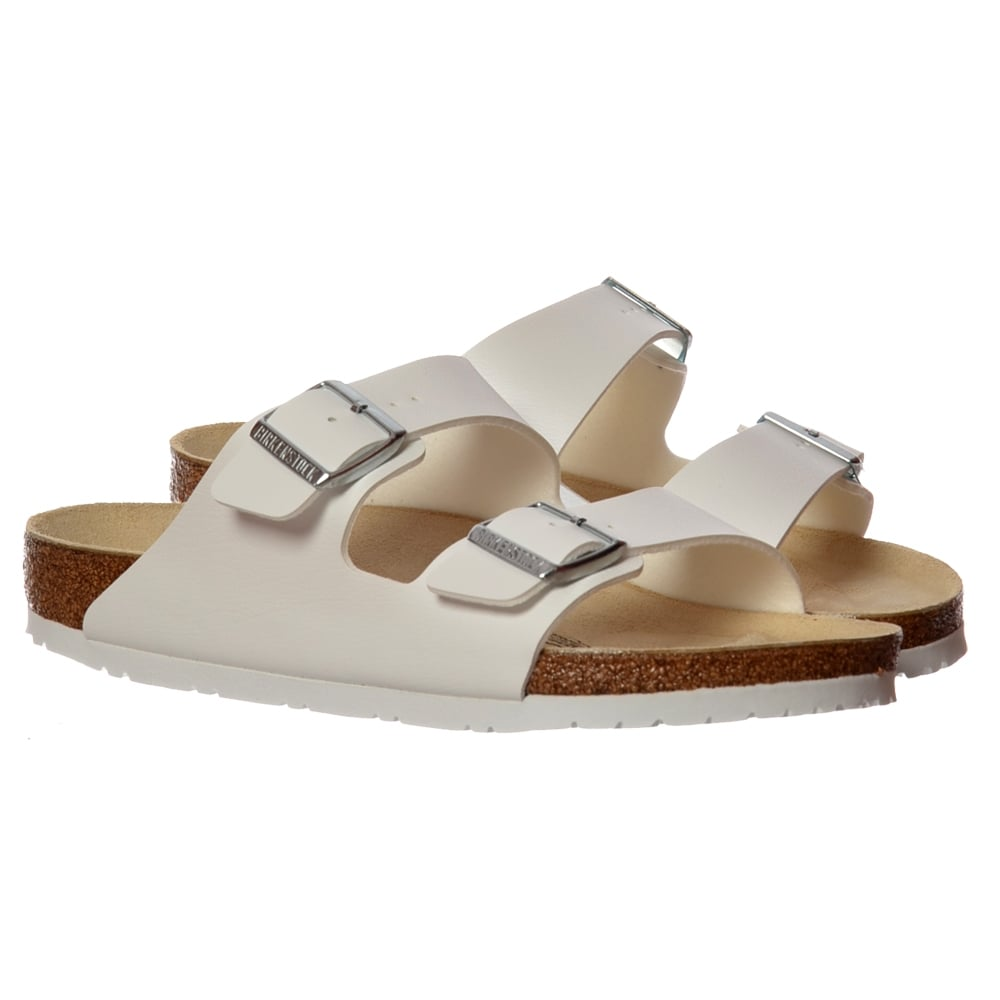 ddfc4c3887fc3 Birkenstock Arizona Birkoflor - Standard Fitting Classic Buckled Two Strap  - Flip Flop Sandal - White PU - WOMENS from Onlineshoe UK