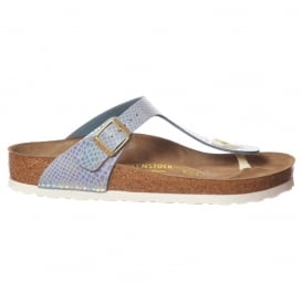 Gizeh Shiney Snake BirkoFlor -Standard Fitting Buckled Toe Post Thong Style - Flip Flop Sandal