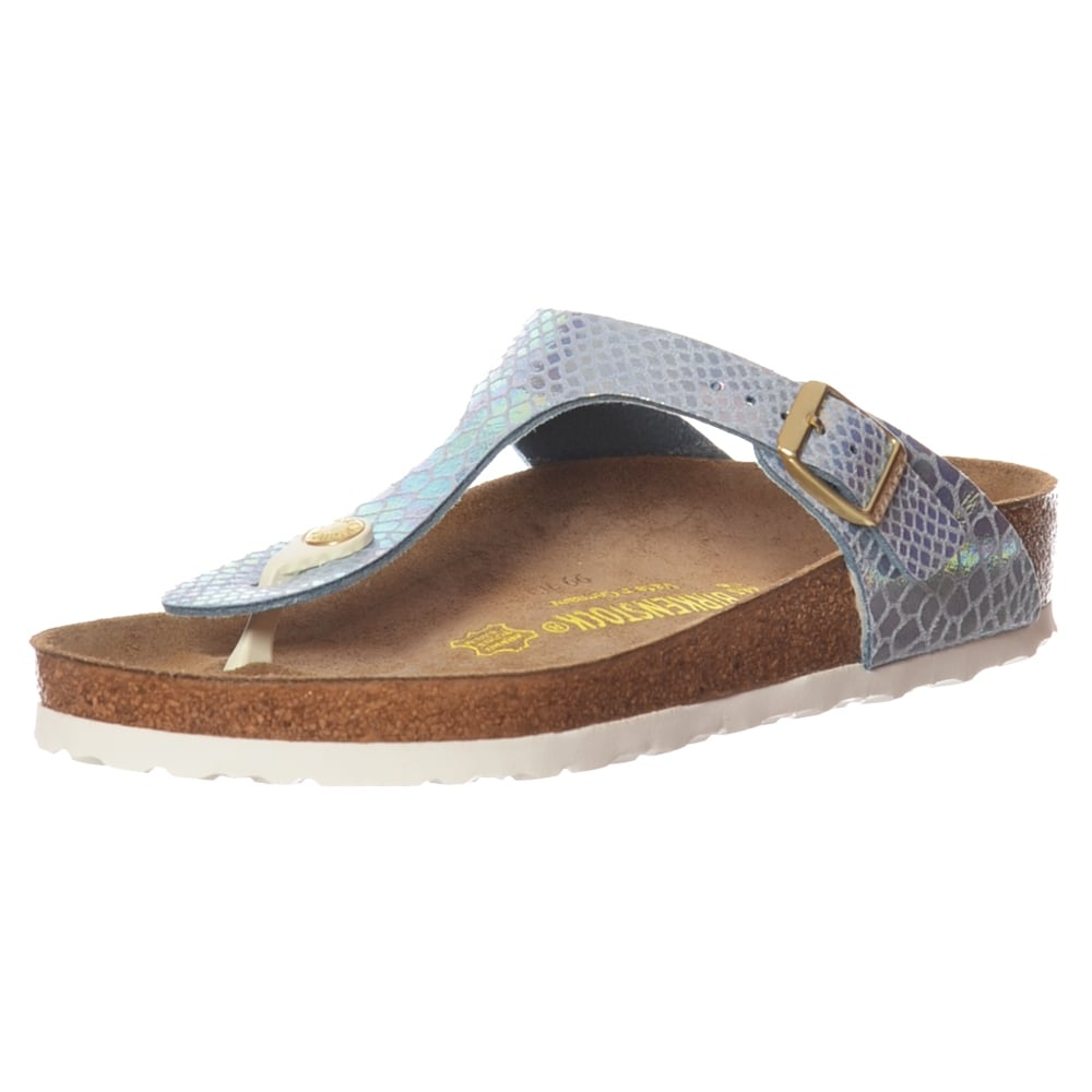84572e4b181 Gizeh Shiney Snake BirkoFlor -Standard Fitting Buckled Toe Post Thong Style  - Flip Flop Sandal