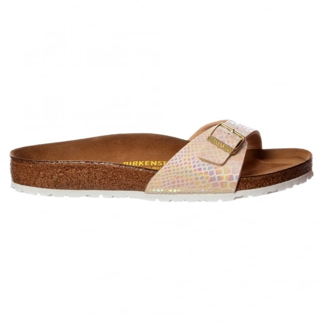 Birkenstock Madrid Shiney Snake BirkoFlor - Standard Fitting Buckled Single Strap - Flip Flop Sandal