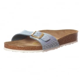 Madrid Shiney Snake BirkoFlor - Standard Fitting Buckled Single Strap - Flip Flop Sandal