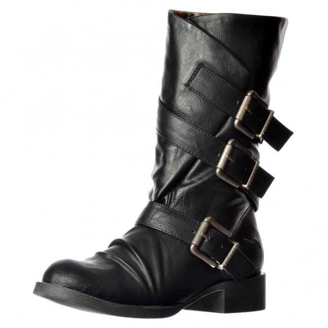 Blowfish Kasbah Three Buckle Mid Calf Winter Biker Boot - Black, Whiskey