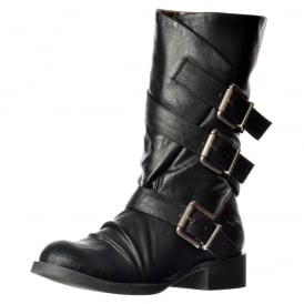 Kasbah Three Buckle Mid Calf Winter Biker Boot - Black, Whiskey
