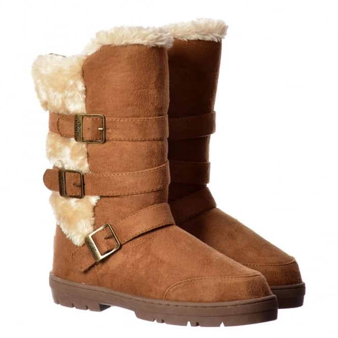 Ella Buckles and Straps Fully Fur Lined Flat Winter Boot - Chestnut Brown, Black