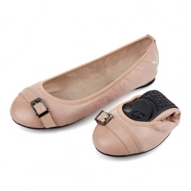 Ella - Folding Ballerina Pumps - Nude