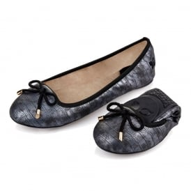 Francesca - Folding Ballerina Pumps - Pewter Croc