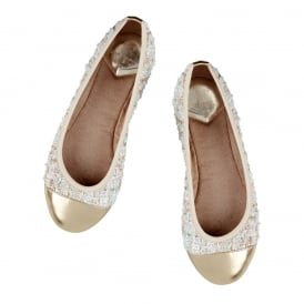 Verity - Folding Ballerina Pumps - Nude Boucle