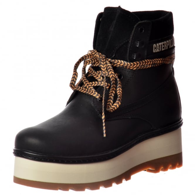 Cat High Hopes Lace Up Ankle Combat Boot - Black, Honey Reset, Whitecap