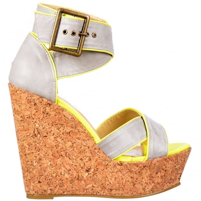 Dolcis Cork Wedge Peep Toe Platforms - Cross Over Ankle Strap - Grey / Lime Green