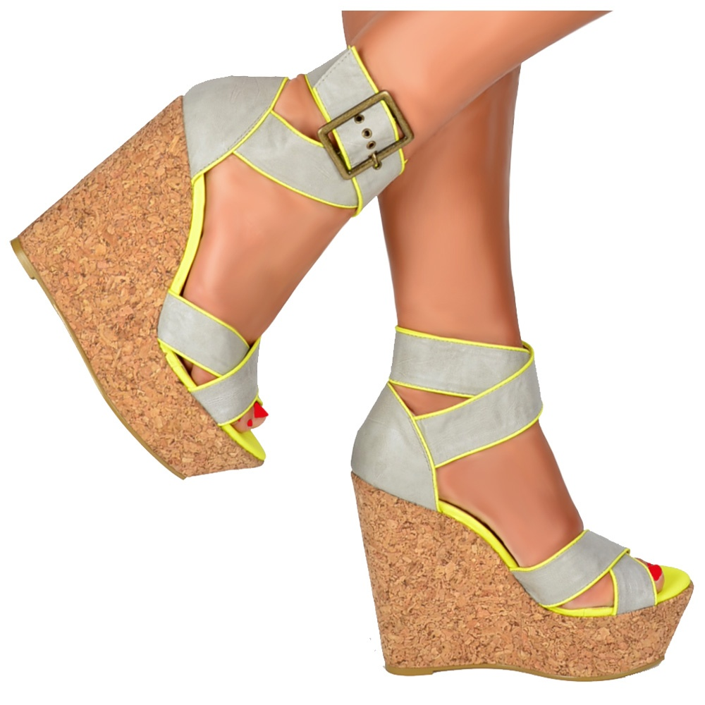 2c01a5815a3 Cork Wedge Peep Toe Platforms - Cross Over Ankle Strap - Grey   Lime Green