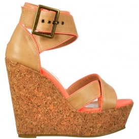 Cork Wedge Peep Toe Platforms - Cross Over Ankle Strap - Tan / Coral Pink