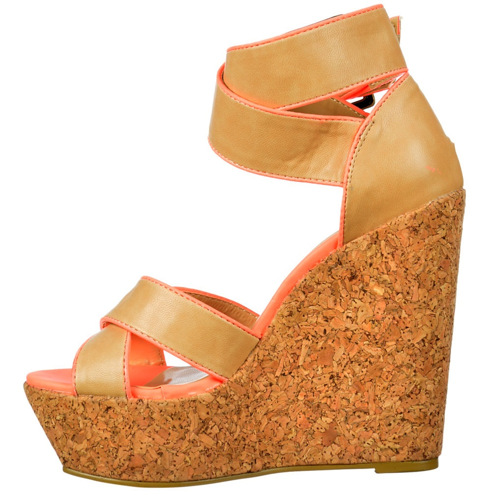 c6c604df838 Cork Wedge Peep Toe Platforms - Cross Over Ankle Strap - Tan   Coral Pink