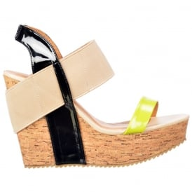 Cork Wedge Peep Toe Platforms - Elastic Strappy Three Tone - Lime / Black / Beige