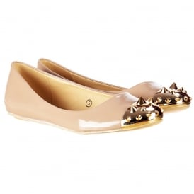 Flat Patent Ballerina Pumps - Gold Studded Toe - Beige Patent