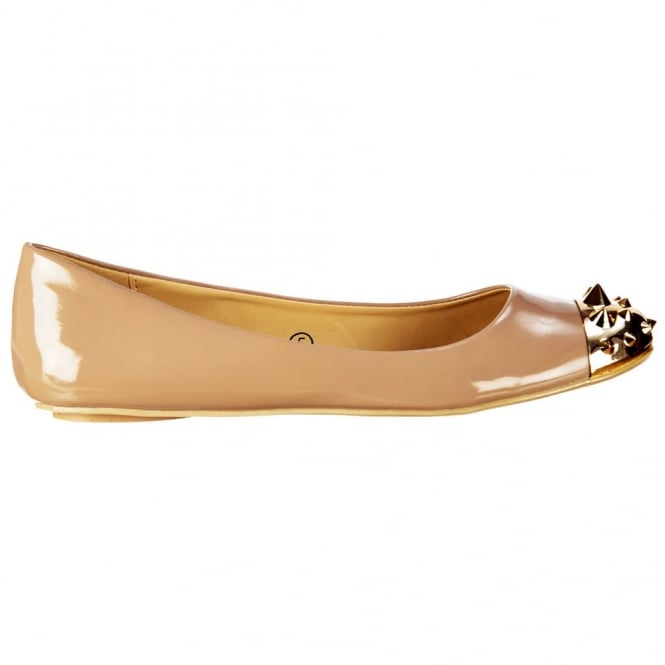 Dolcis Flat Patent Ballerina Pumps - Gold Studded Toe - Beige Patent
