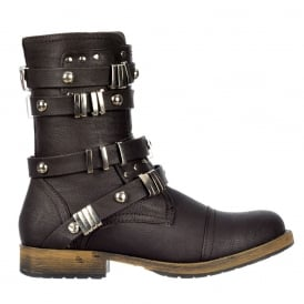 Military Style Ankle Biker Boot - Metal Studded Buckle - Black, Brown