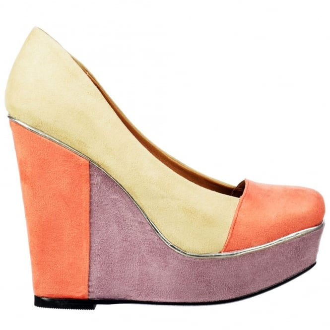 Dolcis Multi Coloured Summer Platform Wedge - Metallic Trim - Nude Coral Lilac