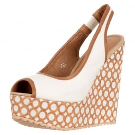 Slingback Peep Toe - Decorated Wedge Sandal