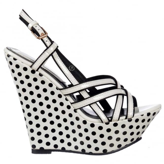 Dolcis Strappy Summer Wedge Platforms - Black and White Polka Dot