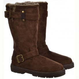 Biker Fur Lined Flat Winter Snow Boot - Chestnut Brown, Black, Dark Brown, Grey
