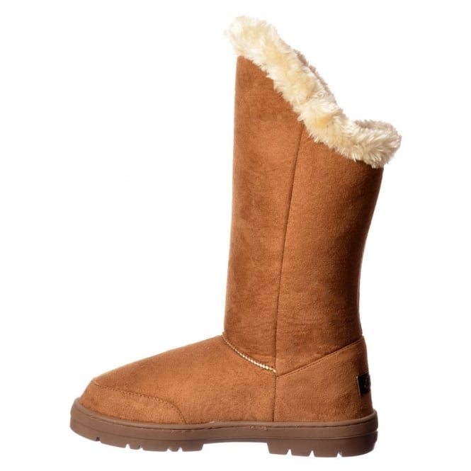 1ebdb099930727 EBAY   AMAZON Triple 3 Button Fur Lined Flat Winter Boot - Chestnut Brown