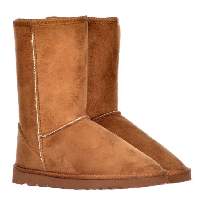 Ella Fur Lined Flat Ankle Winter Slouch Boot - Chestnut Brown, Brown, Black