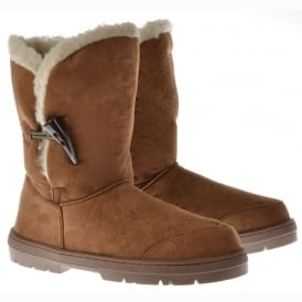 Fur Lined Flat Toggle Button Ankle Winter Boot - Chestnut Brown