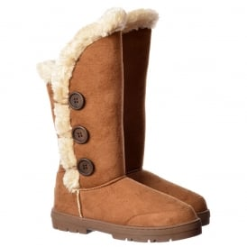 New Triple 3 Button Fully Fur Lined Flat Winter Boot - Chestnut Brown, Black, Dark, Brown