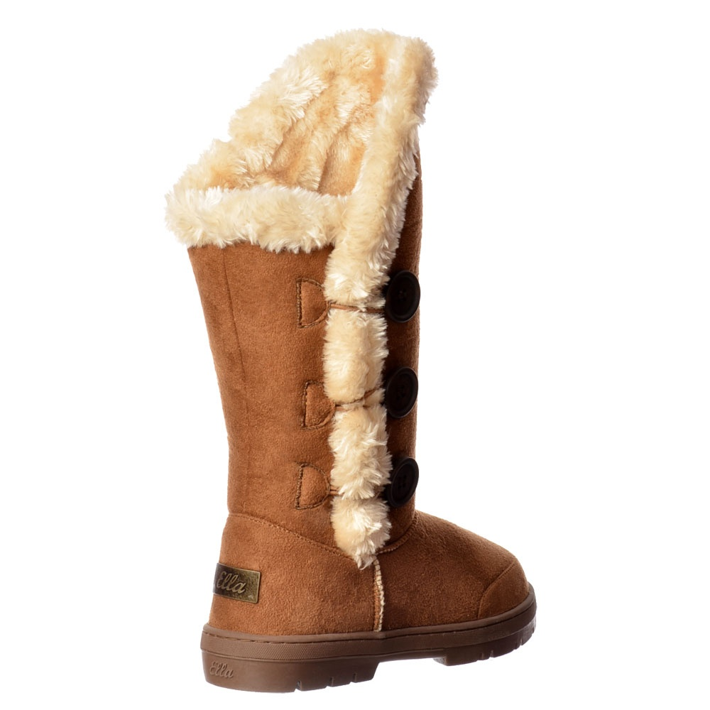 36d6d6fb690f44 Ella New Triple 3 Button Fully Fur Lined Flat Winter Boot - Chestnut ...