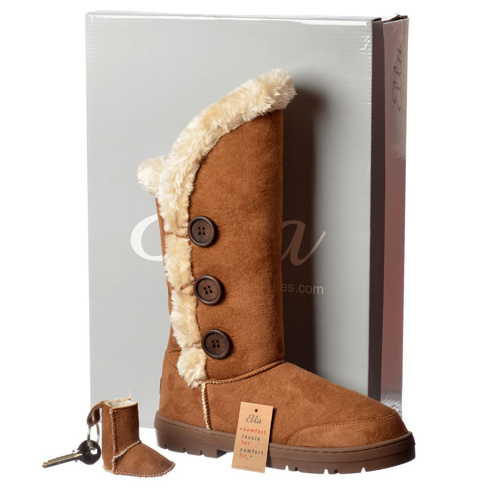 47180e1f4b62 Ella New Triple 3 Button Fully Fur Lined Flat Winter Boot - Chestnut ...