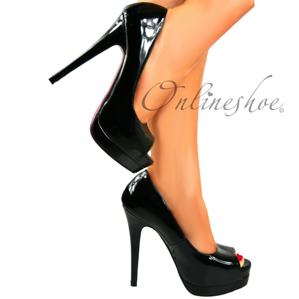 d82d543cd Peep Toe Stiletto Platform High Heel Shoes - All Occasion - Black Patent