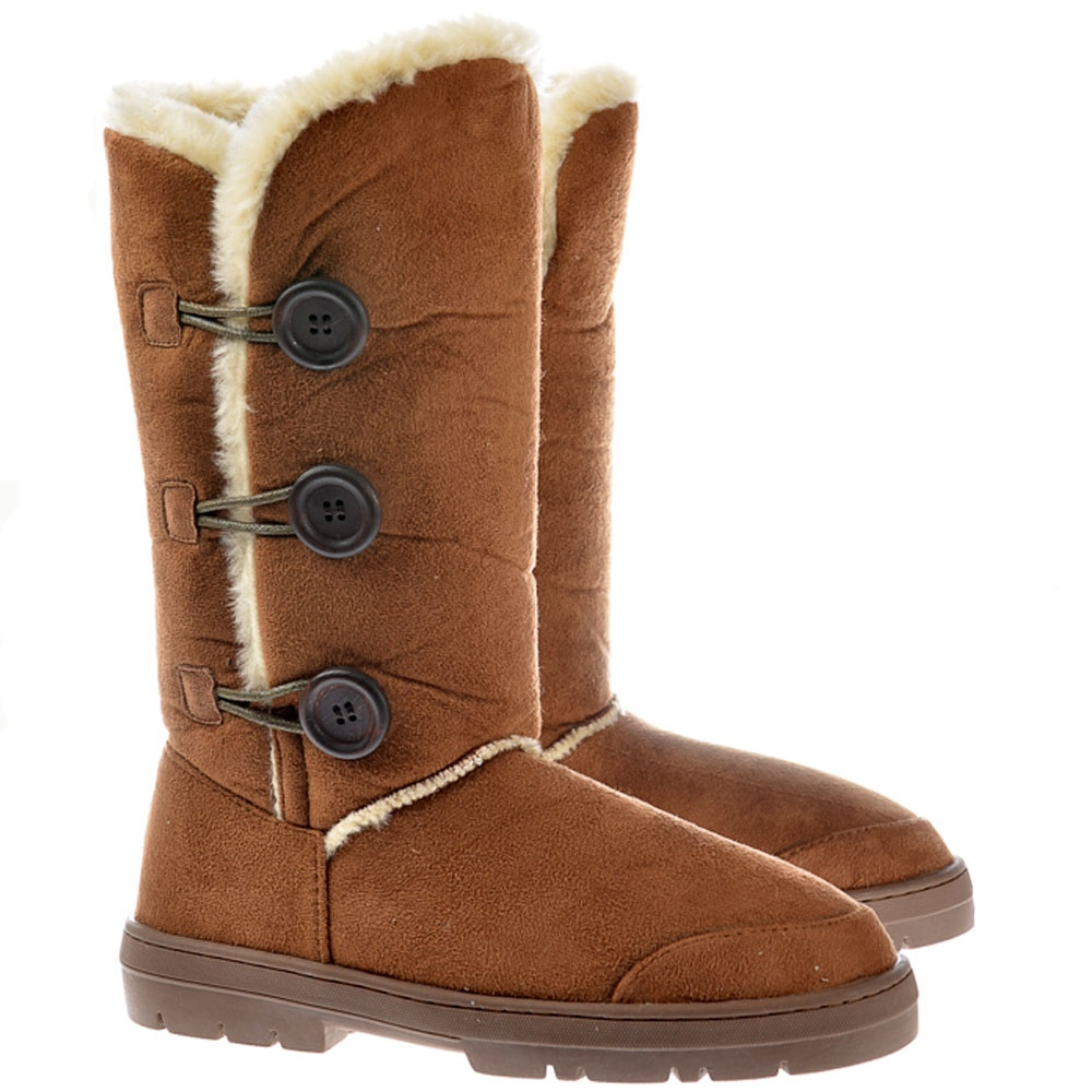 657d978d436 Ella Triple 3 Button Fur Lined Flat Winter Boot - Chestnut Brown, Black,  Grey, Dark, Brown
