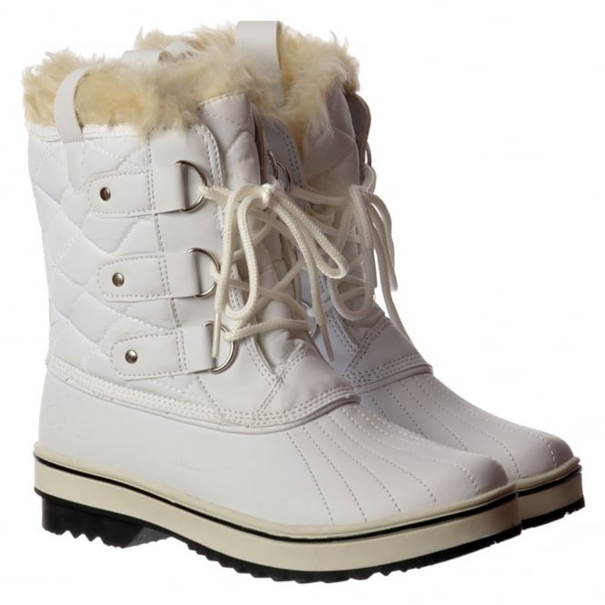 Ella Warm Fur Fleece Lined Flat Ankle Ski Snow Boot - Black, White, Brown, Tan