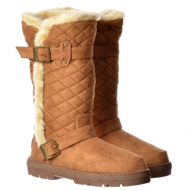 Ella Wide Calf Quilted Biker Fur Lined Flat Winter Snug Boot - Chestnut Brown, Black, Dark Brown