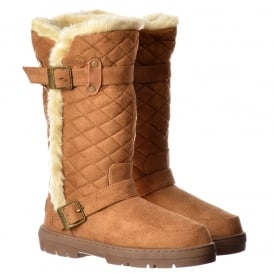 Wide Calf Quilted Biker Fur Lined Flat Winter Snug Boot - Chestnut Brown, Black, Dark Brown