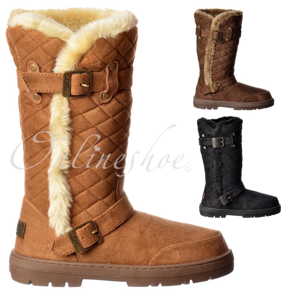 cfb4c1803f4ec Wide Calf Quilted Biker Fur Lined Flat Winter Snug Boot - Chestnut Brown,  Black,