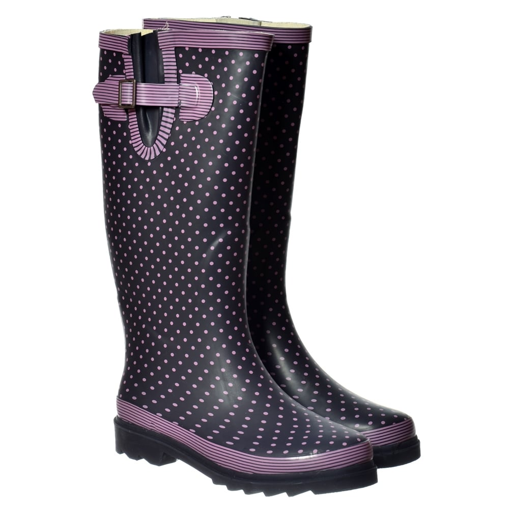 ae6a66b45 Flat Wide Calf Wellie Wellington Festival Rain Boots - Navy / Pink Spot -  WOMENS from Onlineshoe UK