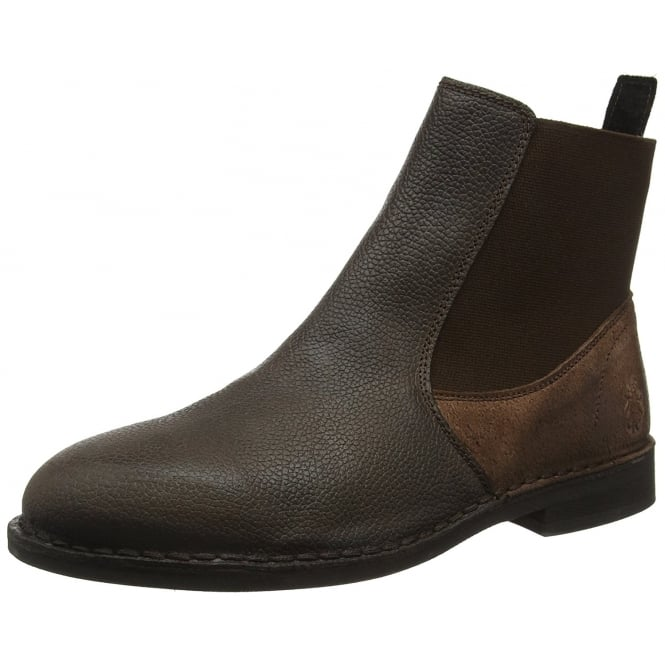 Fly London Mens Wack908FL Solero/Scratch Full Leather Chelsea Boot - Black/Anthracite, Mocca/Brown