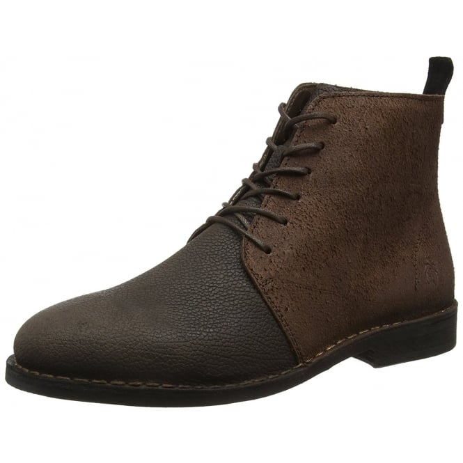 Fly London Mens Wive911 Solero/Scratch Full Leather Lace Up Ankle Boot - Black/Anthracite, Mocca/Brown