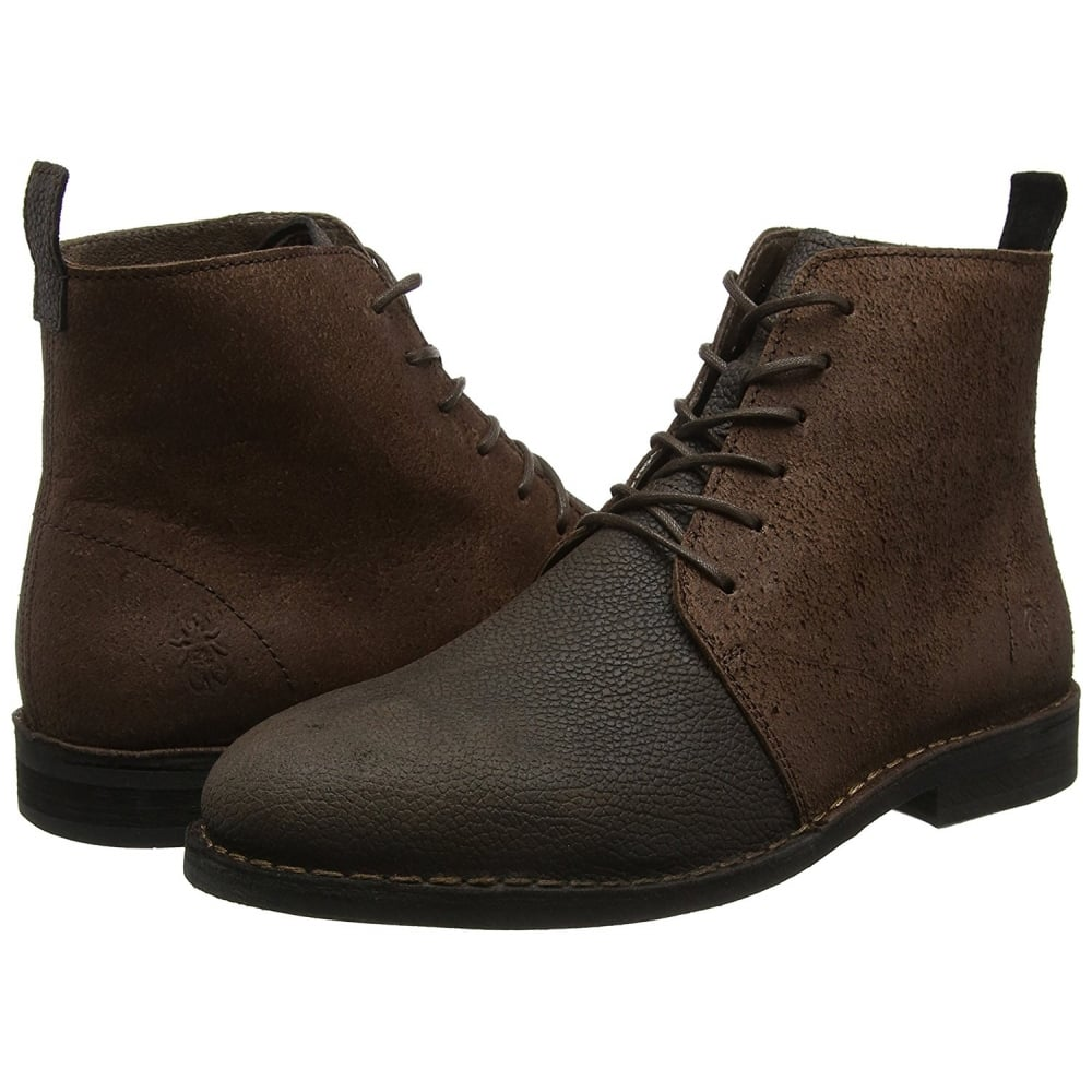Fly London Mens Wive911 Solero//Scratch  Leather Lace Up Ankle Boot Black Brown