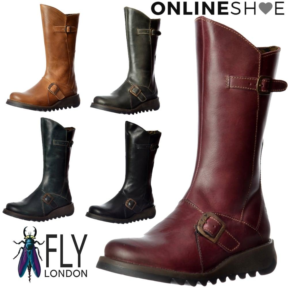 new product 29feb efc64 Mes 2 Calf High Winter Boot Low Wedge Heel Cleated Sole - Purple, Camel,  Diesel, Petrol, Black